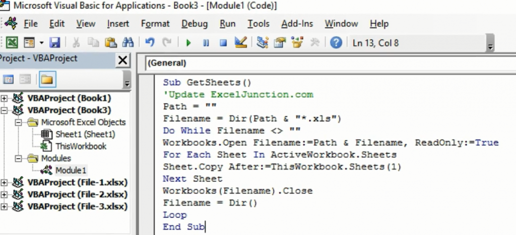 Copy the VBA Code in the Code Window