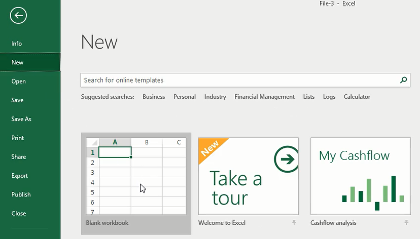 Open a New Excel Workbook