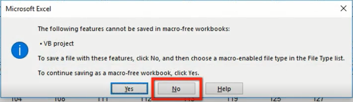 Save the workbook - Macro Enabled