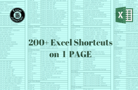 200 MS Excel Shorcuts on 1 Page